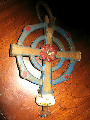 ONE OF A KIND FIND<>1850s OR EARLIER ANTIQUE CROSS TOP TO -BELL-?-CHECK IT OUT<>
