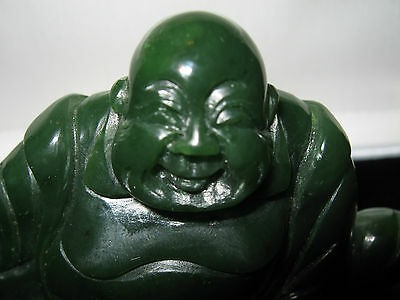 Dark Green Jade Carved Sitting Buddha<>Stunning Color And Quality<>