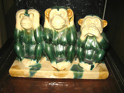 Look At This !!   -Rare Early 3 Wise Monkeys In  Majolica- Over 8 Pounds