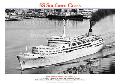 Ss Southern Cross Shaw Savill Ship A3 Poster Print Picture Photo Image