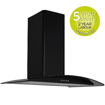 MyAppliances REF28305 70cm Curved Glass Chimney Black Cooker Hood Extractor