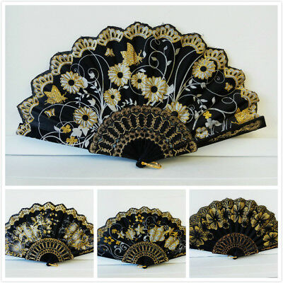 Vintage Folding Spanish Flower Floral Fabric Lace Dancing Wedding Party Hand Fan