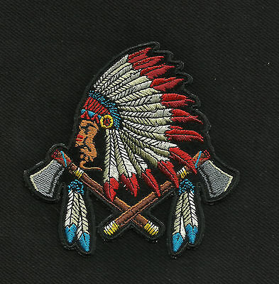 Indian Chief Head Battle Axes And Feathers Motorcycle Jacket Vest Biker Patch