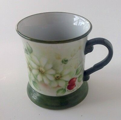 Antique Hand Painted Shaving Mug Tankard Signed Green Leaves Red Berries Flowers