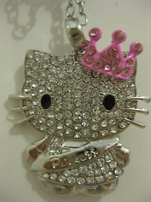 Hello kitty silver plated large crystal pink crown princess necklace- Brand New