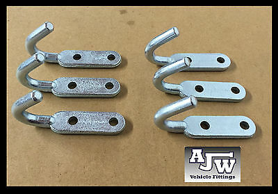 6 Tailboard Rope Hooks Small 10mm X 100mm Trailers Vans Truck Dropsides BOLT ON