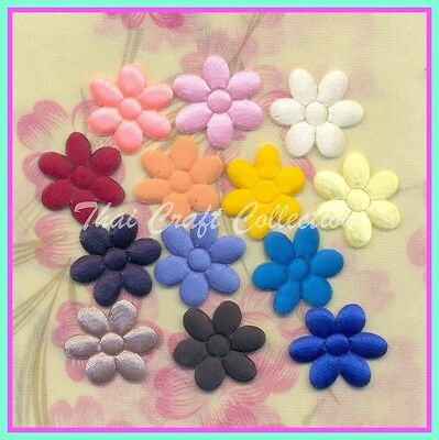 """P8122 : 65 Pcs Satin Padded Appliques Mix 13 Color Jasmine Flower 1.1"""" for Craft"""
