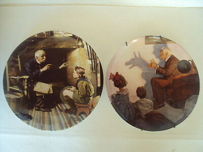 Vintage Norman Rockwell Pair of Collectors Plates With Certificate. Cute!