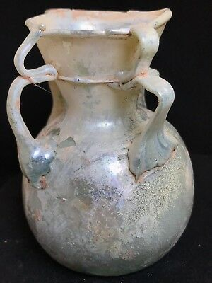 Ancient Roman Glass Bottle  100 B.c. - 200 A.d.! Nice Iridescence & Decoration