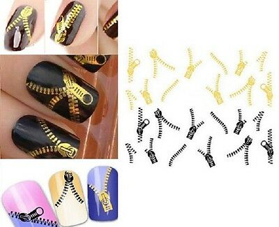 Stickers ongles Nail Art autocollant décalco water decals ZIP FERMETURE ECLAIR
