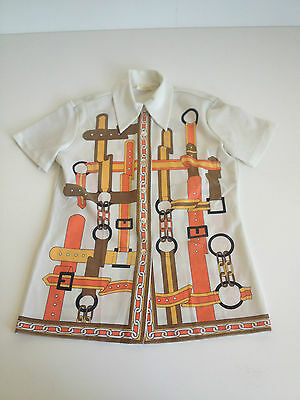 MID CENTURY MODERN 1960s HIPPIE SHIRT GROOVY RETRO PINUP SMALL CLEAN VINTAGE