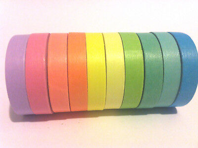 Washi Tape Thin Plain Solid Colour Sets 5Mm - 7.5Mm Wide Scrapbooking Craft Wrap