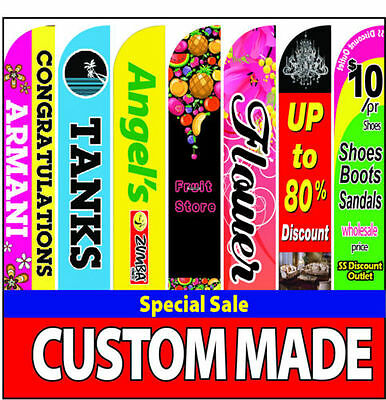15' Full color Custom Swooper Advertising Flag Feather Banner +Pole & Spike
