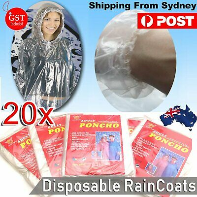 20x Disposable Ponchos Emergency Rain Coats Adult Raincoat Poncho Camping Hiking