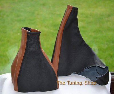 For Vauxhall Opel Astra G Coupe Gear Handbrake Gaiter Black Brown Leather Covers