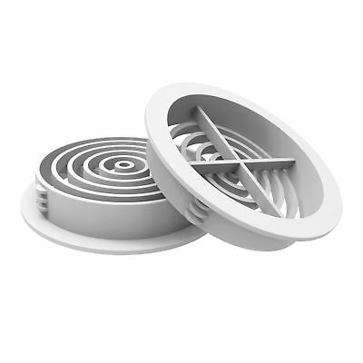 50 x 70mm White Plastic Round Soffit Air Vents / Upvc Push in Roof Disc / Fascia
