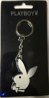 Playboy, Stainless Steel, Anodized White Rabbit,  Liscensed Key Chain, New