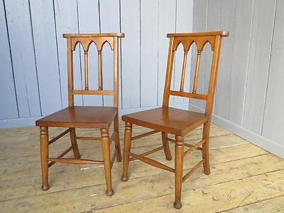 Pair of Gothic Solid Oak Chairs - Kitchen Dining Chapel Church Chair