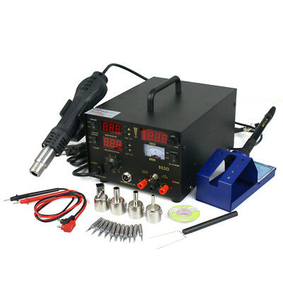 3 in 1 853d SMD DC Power Supply Hot Air Iron Gun Rework Soldering Station 700W