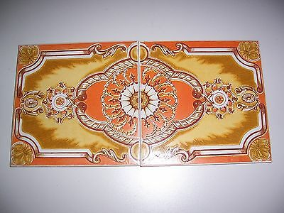 Beautiful Antique Italian Tiles Set of 2 Fancy Tiles Hand Painted