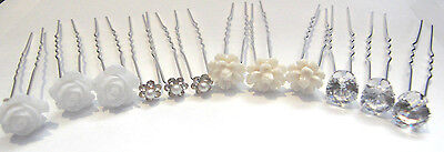 Wedding, Prom, Bridal hair pins grips clips - Pearl ,flower ,crystal diamate