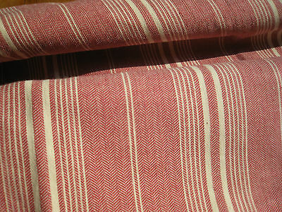 "ANTIQUE FRENCH TICKING FABRIC - Striped ""Vieux Rose"" - Off-White"