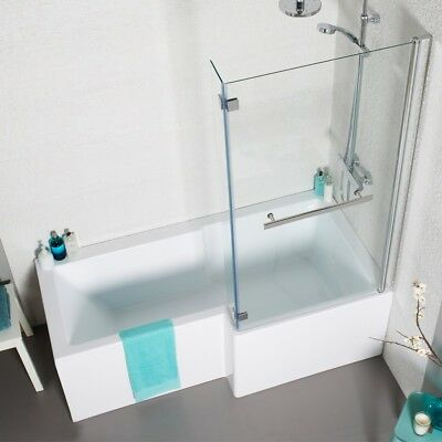 L shape square shower bath 1700 with panels, screen & waste
