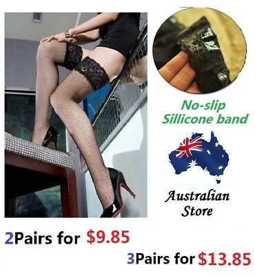 Sexy Ladies Lace Top Non-slip Thigh High Fishnet Stockings Hold-ups Pull Stay up