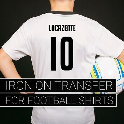 Football Kit Name and Numbers Iron on Vinyl Personalise your own Footy Shirts
