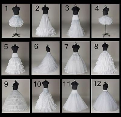 12 Styles Wedding Bridal Slips A-line Train Petticoat Hoop Short Skirt Crinoline