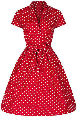 40s 50s Retro Vintage Style Red Polka Dot Belted A-Line Shirt Dress BNWT 8 - 28