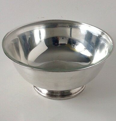 """Vtg Gorham Paul Revere Silverplate 8"""" Footed Serving Bowl Clear Glass Liner"""