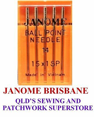 Janome BALLPOINT Needles Size 14 For Overlocking and Stretch Fabrics Pkt Of 5