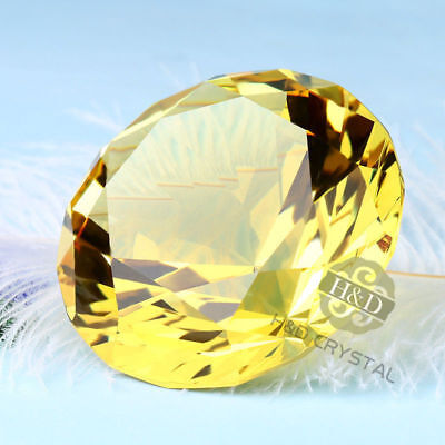Big 60mm Crystal Yellow Paperweights Cut Glass Large Giant Diamond Wedding Gifts