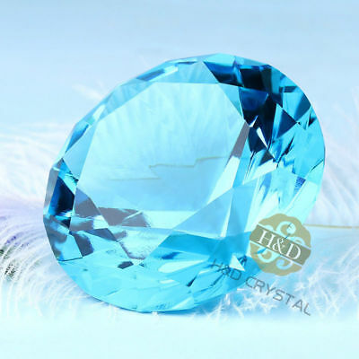 Hot 60mm Crystal Blue Paperweights Cut Glass Large Giant Diamond Home Decor Gift