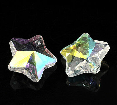 Wholesale DIY Jewelry Clear AB Color Star Charm Glass Crystal Pendants 13x13mm