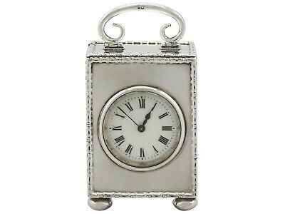Sterling Silver, French Movement Boudoir Clock - Antique George V