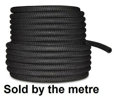 """6mm 1/4"""" Car NBR Fuel Braided Hose Replacement Black 1 Metre Pipe"""