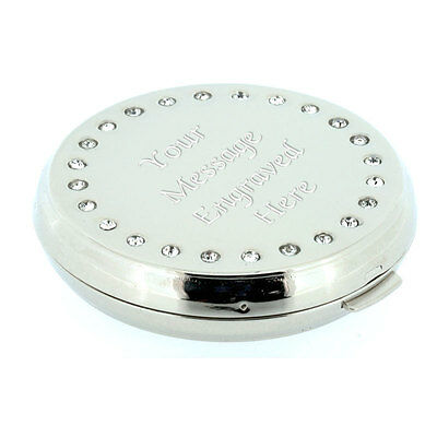 Personalised Round Crystal Compact Handbag Mirror Birthday Gift Wedding Gift etc