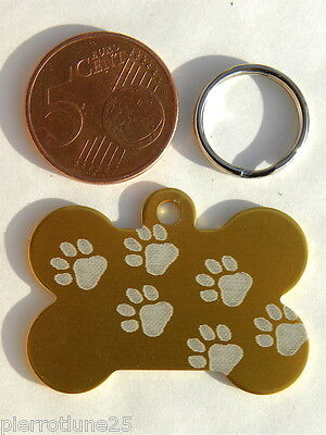 Medaille Gravee Chien Chat Or Os Moyen Modele Motif Pattes