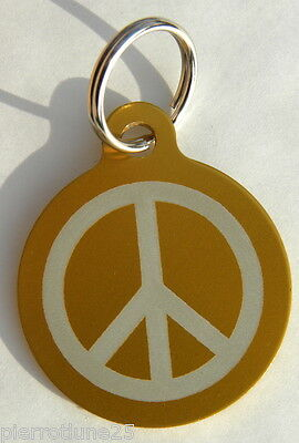 MEDAILLE gravée OR peace and love CHIEN collier gravure offerte
