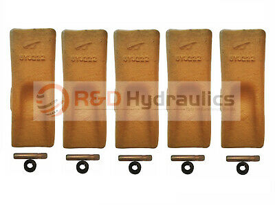 5 pack 6Y3222 Cat Style Standard Chisel Bucket Digging Teeth w/Pins & Retainers