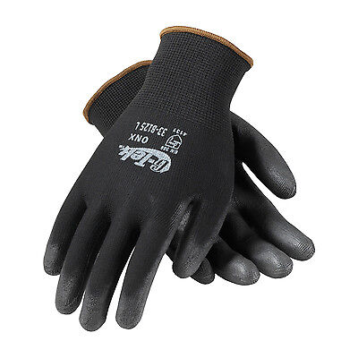 PIP 33-B125 G-TEK Black Knit Nylon Gloves with Polyurethane Grip (Dozen)