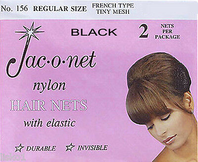 Jac-O-Net  #156  French Style  Invisible Hair Net  w/Elastic (2) pcs. Black