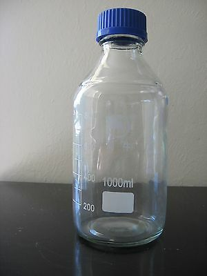 1000ml,Glass Reagent bottle w cap autoclavable,heavy wall,Graduation 200ml