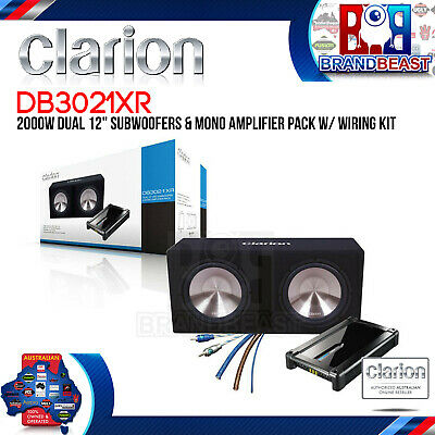"Clarion Db3021Xr Dual 12"" 1800W Active With Amplifier Subwoofer Car Sub + Cables"