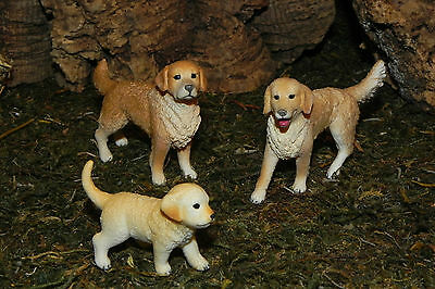 "Golden Retriever Dog Figurines Set/3 Schleich for 5"" Nativity Pesebre Animales"
