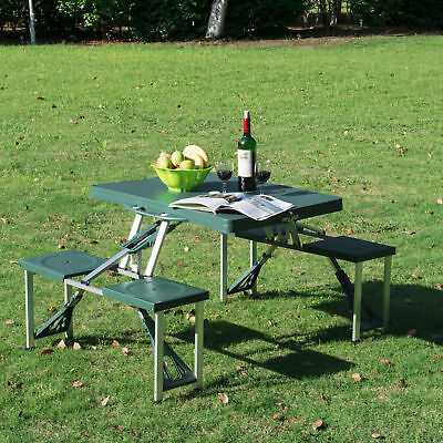 Deep Green Outdoor Aluminum Portable Folding Camping Picnic Table Case 4 Seats