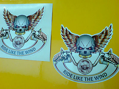 RIDE LIKE THE WIND Skull Motorcycle Helmet Stickers Decals 2 off 82mm
