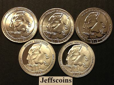 2013 P D S S S Quarter Mt Rushmore National Park Clad &90% Silver Proofs 5 Coin